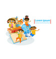 kids learing together small children visiting vector image vector image