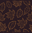 leaves seamless outline orange dark vector image vector image