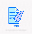 letter with feather thin line icon vector image vector image