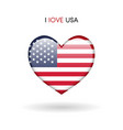 love usa symbol flag heart glossy icon vector image