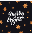 merry and bright hand written lettering 2017 vector image