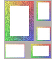 Pixel mosaic page border frame set vector image vector image