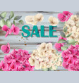 sale banner with hydrangeas watercolor background vector image vector image