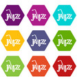 saxophone icons set 9 vector image