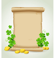 Scroll clover leaves and golden coins vector image vector image