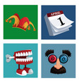 set april fools day icons vector image