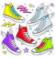 set bright shoes sneakers colored sneakers vector image
