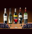 set glasses wine and champagne bottles vector image