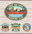 set of canoe and kayak club badges concept vector image vector image