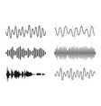 set sound waves analog and digital line vector image