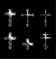 Silver christian crosses in different designs vector image