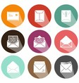 Solid envelope icons shadow vector image vector image