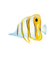 striped butterfly fish with thin body color card vector image vector image