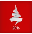 Stylized origami Christmas tree on red background vector image