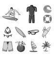 surfing and extreme monochrome icons in set vector image
