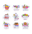 sweets logos set confectionery and bakery vector image vector image