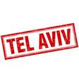 Tel aviv red square grunge stamp on white vector image