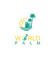 world palm logo vector image vector image