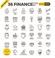 Finance pixel perfect outline icons vector image