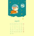 2019 april calendar with welsh corgi dog as vector image vector image