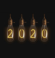 2020 glowing numbers inside filament bulbs vector image vector image