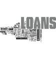 a look at common types of loans text word cloud vector image vector image