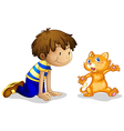 A young boy and his adorable kitten vector image vector image