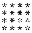 Asterisk footnote star icon set vector image vector image