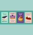 baking shop menu cards vector image vector image