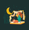 beautiful mother read book for her sleeping vector image vector image