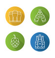 beer flat linear long shadow icons set vector image vector image