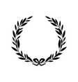 black silhouette greek laurel wreath with bow vector image vector image