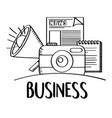 business phoro camera speaker news doodle vector image