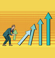 businessman destroys growth charts sales vector image
