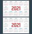 calendar for 2021 starts sunday and monday vector image