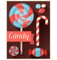 Candy retro poster background design in flat style vector image vector image