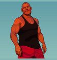 cartoon calm sturdy muscular man vector image vector image