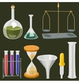 cartoon chemistry laboratory objects in flat vector image vector image