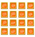comic colored sound icons set orange vector image vector image