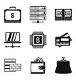 computer business icons set simple style vector image vector image