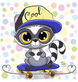 cute cartoon raccoon with a skateboard vector image vector image
