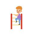 cute little boy climbing up ladder kid having fun vector image vector image
