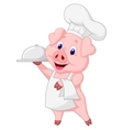 Cute pig chef cartoon holding platter vector image vector image