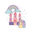 cute pink fantasy castle vector image