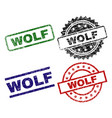 damaged textured wolf stamp seals vector image
