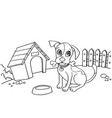 dog with bone in mouth at house cartoon vector image vector image