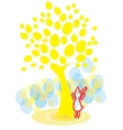 easter bunny under egg-tree vector image