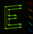 EPS10 glowing wireframe letter E - easy to change vector image vector image
