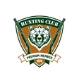 Hunting club member isloated shield sign vector image