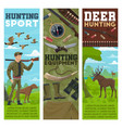 hunting sport banners hunter and animals vector image vector image